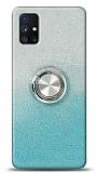 Samsung Galaxy M51 Simli Yüzüklü Turkuaz Silikon Kılıf