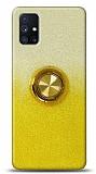 Samsung Galaxy M51 Simli Yüzüklü Sarı Silikon Kılıf