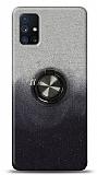 Samsung Galaxy M51 Simli Yüzüklü Siyah Silikon Kılıf