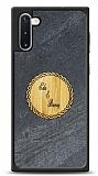Samsung Galaxy Note 10 Kişiye Özel Çift İsim Doğal Mermer ve Bambu Kılıf