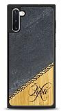 Samsung Galaxy Note 10 Kişiye Özel Tek İsim Doğal Mermer ve Bambu Kılıf