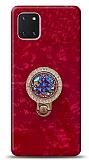 Samsung Galaxy Note 10 Lite Mozaik Yüzüklü Kırmızı Silikon Kılıf