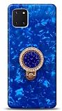 Samsung Galaxy Note 10 Lite Mozaik Yüzüklü Mavi Silikon Kılıf