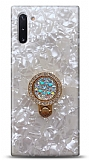 Samsung Galaxy Note 10 Mozaik Yüzüklü Beyaz Silikon Kılıf