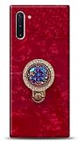 Samsung Galaxy Note 10 Mozaik Yüzüklü Kırmızı Silikon Kılıf