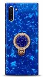 Samsung Galaxy Note 10 Mozaik Yüzüklü Mavi Silikon Kılıf