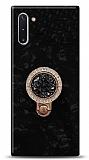 Samsung Galaxy Note 10 Mozaik Yüzüklü Siyah Silikon Kılıf