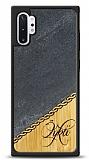 Samsung Galaxy Note 10 Plus Kişiye Özel Tek İsim Doğal Mermer ve Bambu Kılıf