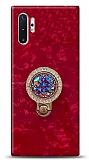 Samsung Galaxy Note 10 Plus Mozaik Yüzüklü Kırmızı Silikon Kılıf