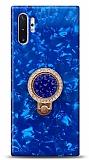 Samsung Galaxy Note 10 Plus Mozaik Yüzüklü Mavi Silikon Kılıf