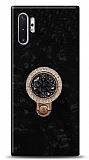 Samsung Galaxy Note 10 Plus Mozaik Yüzüklü Siyah Silikon Kılıf
