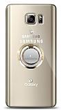 Samsung Galaxy Note 5 Gold Tutuculu Taşlı Şeffaf Kılıf