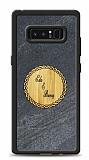 Samsung Galaxy Note 8 Kişiye Özel Çift İsim Doğal Mermer ve Bambu Kılıf