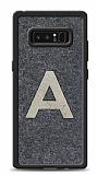 Samsung Galaxy Note 8 Kişiye Özel Silver Tek Harf Doğal Mermer Kılıf