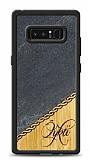 Samsung Galaxy Note 8 Kişiye Özel Tek İsim Doğal Mermer ve Bambu Kılıf