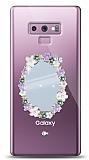 Samsung Galaxy Note 9 Çiçekli Aynalı Taşlı Kılıf