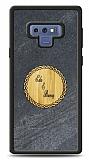 Samsung Galaxy Note 9 Kişiye Özel Çift İsim Doğal Mermer ve Bambu Kılıf