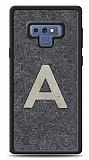 Samsung Galaxy Note 9 Kişiye Özel Silver Tek Harf Doğal Mermer Kılıf