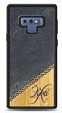 Samsung Galaxy Note 9 Kişiye Özel Tek İsim Doğal Mermer ve Bambu Kılıf