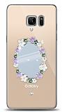 Samsung Galaxy Note FE Çiçekli Aynalı Taşlı Kılıf