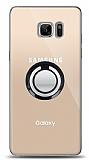 Samsung Galaxy Note FE Siyah Tutuculu Şeffaf Kılıf