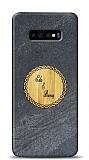 Samsung Galaxy S10 Kişiye Özel Çift İsim Doğal Mermer ve Bambu Kılıf