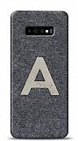 Samsung Galaxy S10 Kişiye Özel Silver Tek Harf Doğal Mermer Kılıf