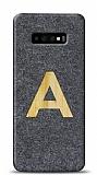 Samsung Galaxy S10 Kişiye Özel Tek Harf Doğal Mermer ve Bambu Kılıf