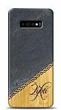 Samsung Galaxy S10 Kişiye Özel Tek İsim Doğal Mermer ve Bambu Kılıf