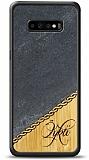 Samsung Galaxy S10 Plus Kişiye Özel Tek İsim Doğal Mermer ve Bambu Kılıf