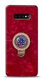 Samsung Galaxy S10 Plus Mozaik Yüzüklü Kırmızı Silikon Kılıf