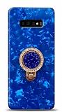 Samsung Galaxy S10 Plus Mozaik Yüzüklü Mavi Silikon Kılıf