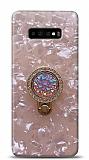 Samsung Galaxy S10 Plus Mozaik Yüzüklü Pembe Silikon Kılıf
