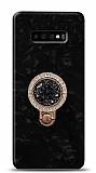 Samsung Galaxy S10 Plus Mozaik Yüzüklü Siyah Silikon Kılıf