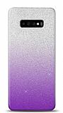 Samsung Galaxy S10 Plus Simli Mor Silikon Kılıf