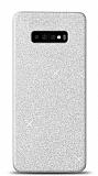 Samsung Galaxy S10 Plus Simli Silver Silikon Kılıf