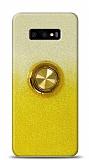 Samsung Galaxy S10e Simli Yüzüklü Sarı Silikon Kılıf