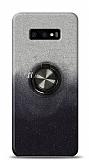 Samsung Galaxy S10e Simli Yüzüklü Siyah Silikon Kılıf