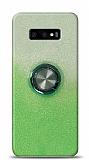 Samsung Galaxy S10e Simli Yüzüklü Yeşil Silikon Kılıf