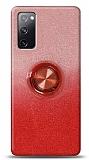 Samsung Galaxy S20 FE Simli Yüzüklü Kırmızı Silikon Kılıf