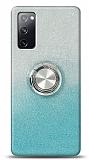 Samsung Galaxy S20 FE Simli Yüzüklü Turkuaz Silikon Kılıf