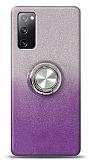 Samsung Galaxy S20 FE Simli Yüzüklü Mor Silikon Kılıf