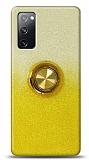 Samsung Galaxy S20 FE Simli Yüzüklü Sarı Silikon Kılıf