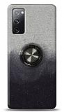 Samsung Galaxy S20 FE Simli Yüzüklü Siyah Silikon Kılıf