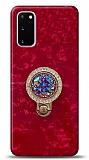 Samsung Galaxy S20 Mozaik Yüzüklü Kırmızı Silikon Kılıf