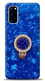 Samsung Galaxy S20 Mozaik Yüzüklü Mavi Silikon Kılıf