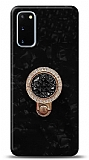 Samsung Galaxy S20 Mozaik Yüzüklü Siyah Silikon Kılıf