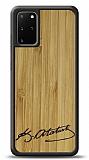 Samsung Galaxy S20 Plus Atatürk İmza Ahşap Kılıf