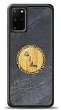 Samsung Galaxy S20 Plus Kişiye Özel Çift İsim Doğal Mermer ve Bambu Kılıf