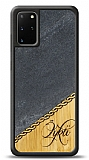 Samsung Galaxy S20 Plus Kişiye Özel Tek İsim Doğal Mermer ve Bambu Kılıf